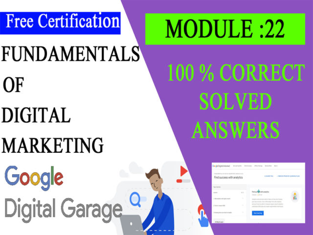Google Digital Unlocked-Lesson 22 Find success with analytics exam answers