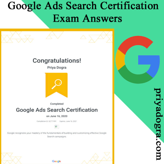 Google Ads Search Certification Exam Answers 2020 Updated
