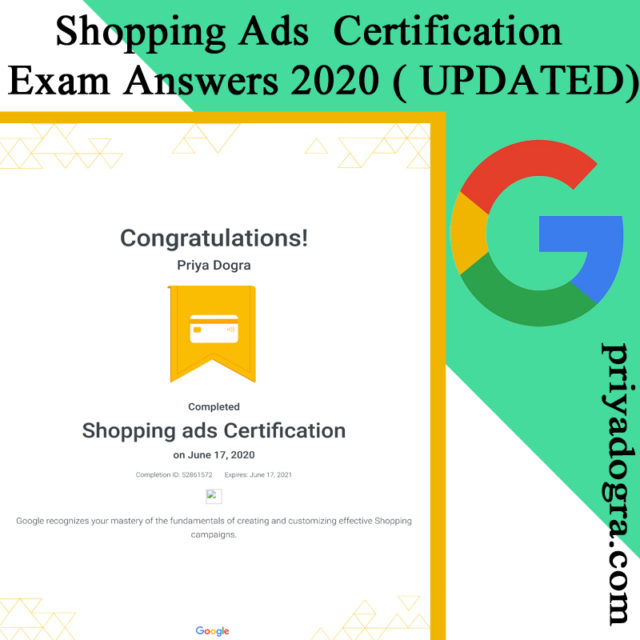 Shopping Advertising Certification Exam Question and Answers 2020 Updated