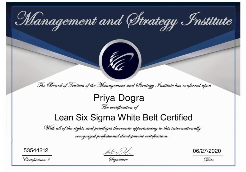 Lean Six Sigma White Belt Certification Answers