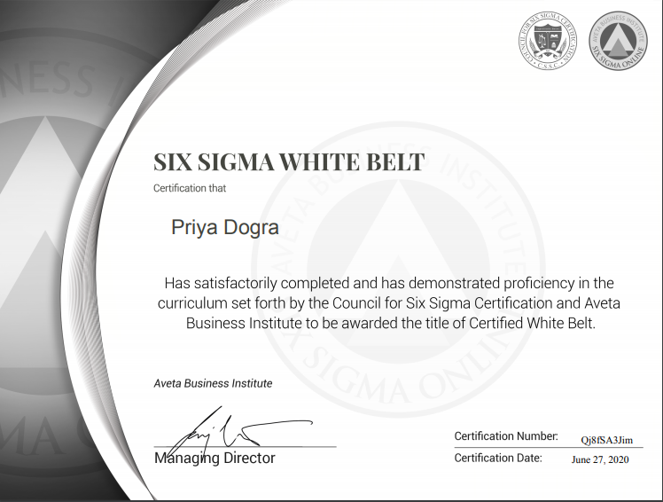 Six Sigma White Belt Certification Answers