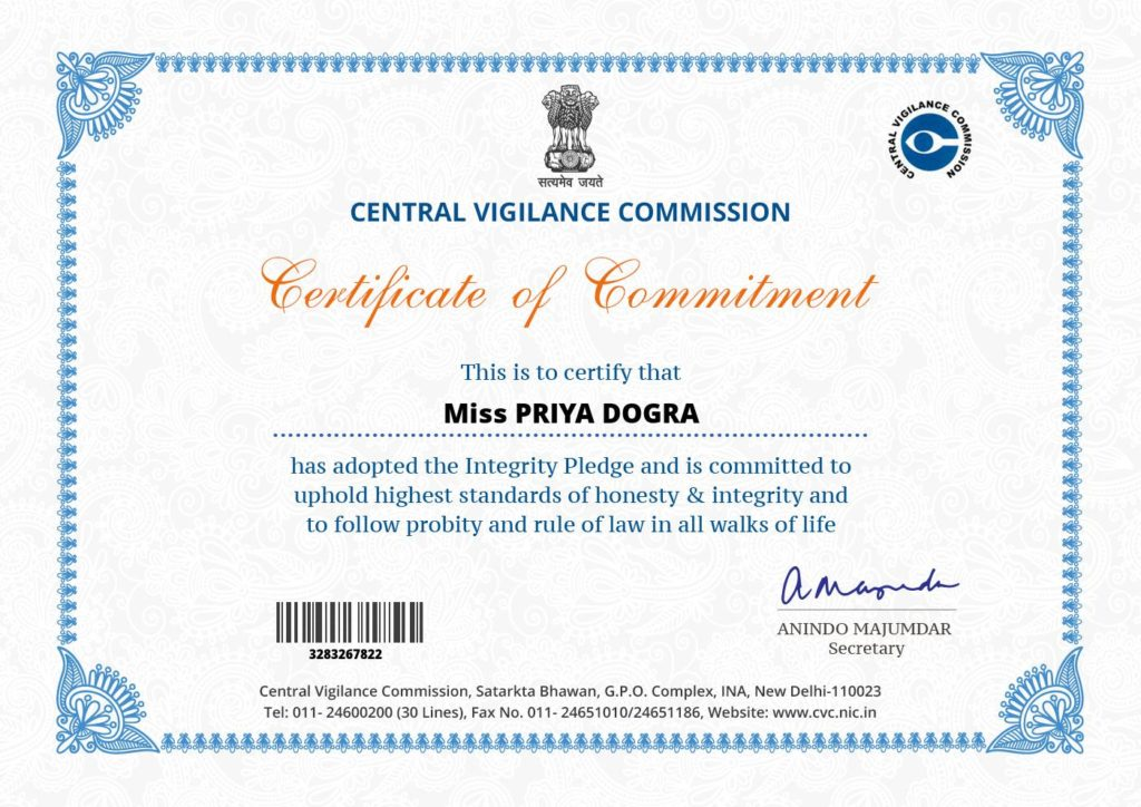 CENTRAL VIGILANCE COMMISSION  CERTIFICATE - Govt of india