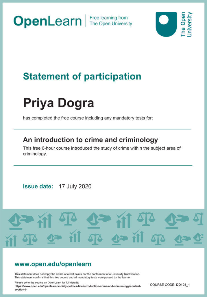 An Introduction to Crime and Criminology Free Certificate