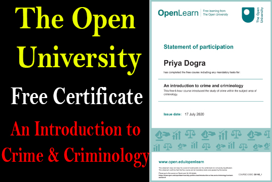 An Introduction to Crime and Criminology Free Certificate Priya