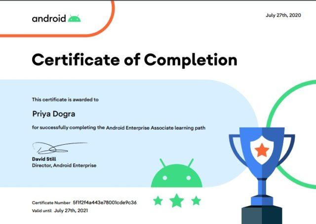 Android Enterprise Platform Associate Exam Answers 2020