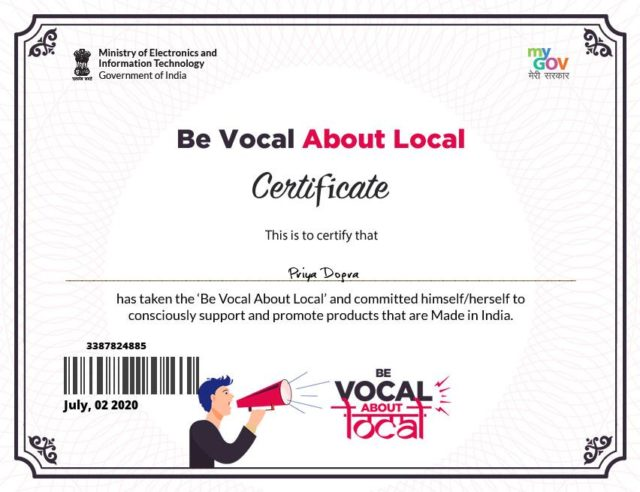 Be Vocal About Local Certificate - Ministry of Electronics and Information Technology - Government of India