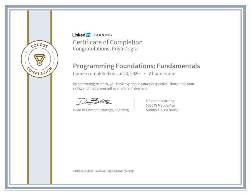 Certification 1: Programming Foundations: Fundamentals