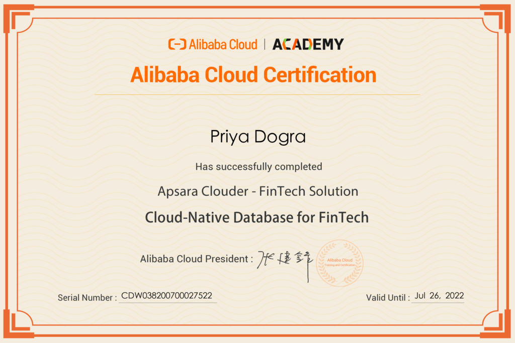 Cloud-Native Database for FinTech Alibaba Cloud Free Certificates  Alibaba Cloud Quiz Answers Alibaba Cloud Certification