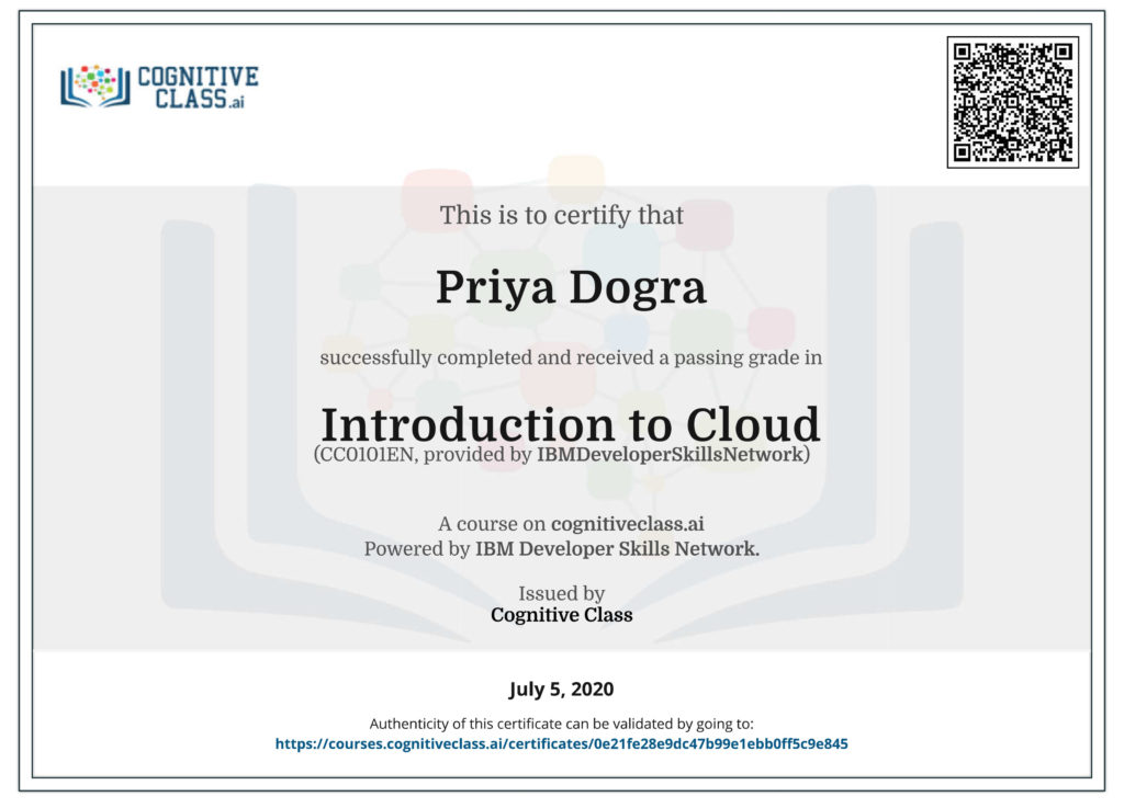 Introduction to Cloud - Cognitive Class Answers