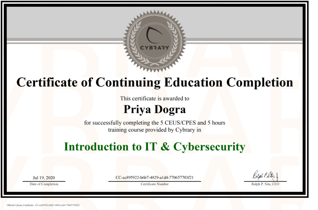 Introduction to IT & Cybersecurity  Free Course With Certificate