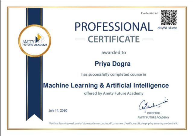 machine learning and AI frree certificate