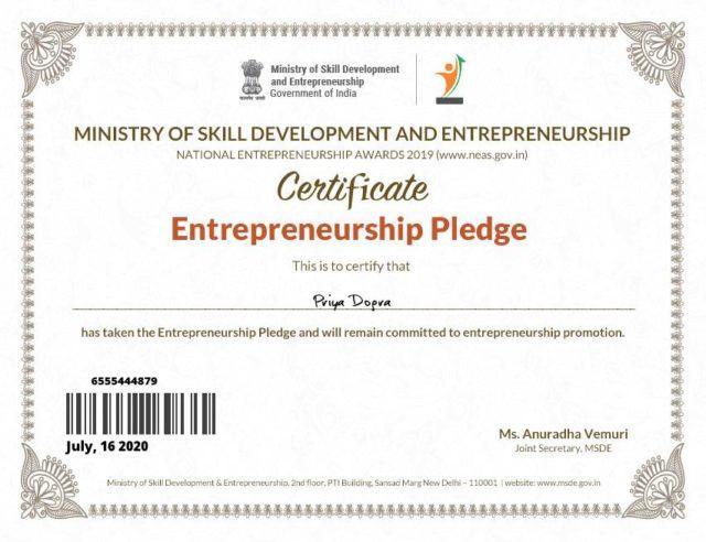 Ministry of Skill Development and Entrepreneurship Certificate