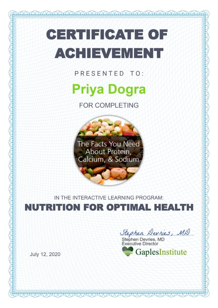 NUTRITION FOR OPTIMAL HEALTH CERTIFICATE