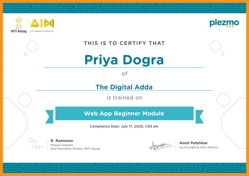 Mobile App and Web App Development Free Certificate Course NITI Aayog