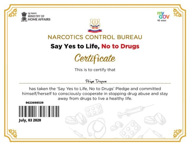 Say Yes to Life, No to Drugs Pledge - Narcotics Control Bureau - Ministry of Home Affairs - Govt of India