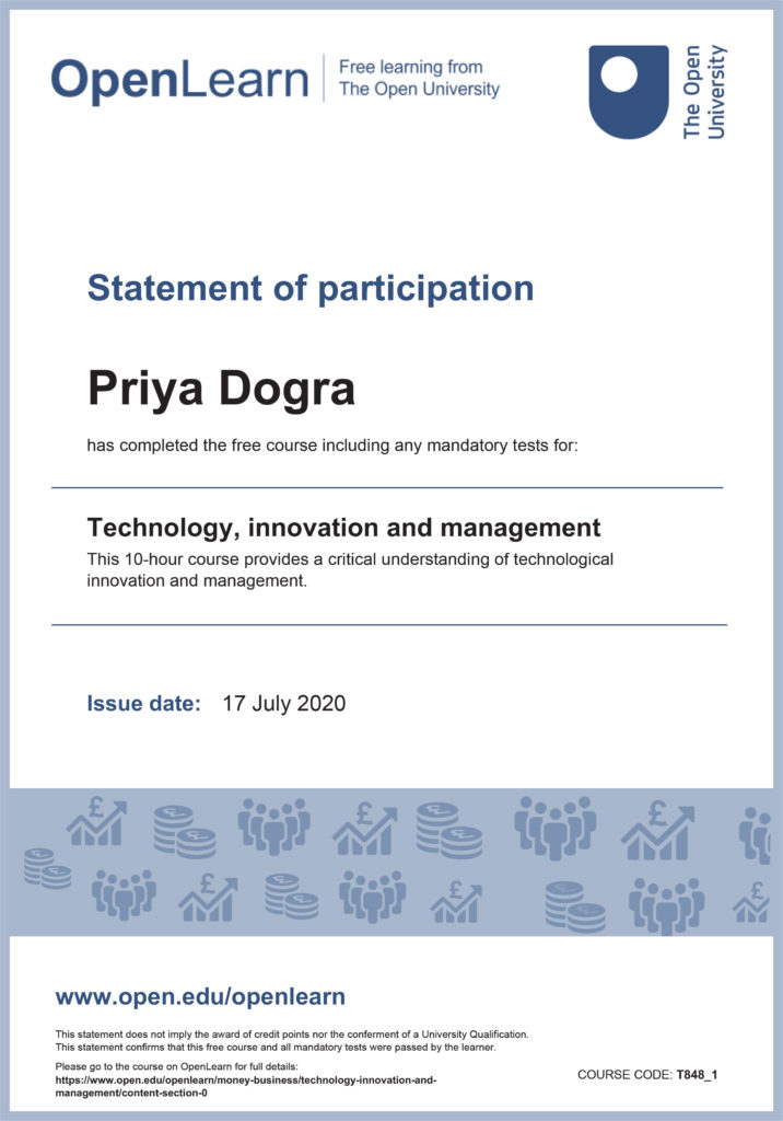 Technology, Innovation and Management Free Certificate