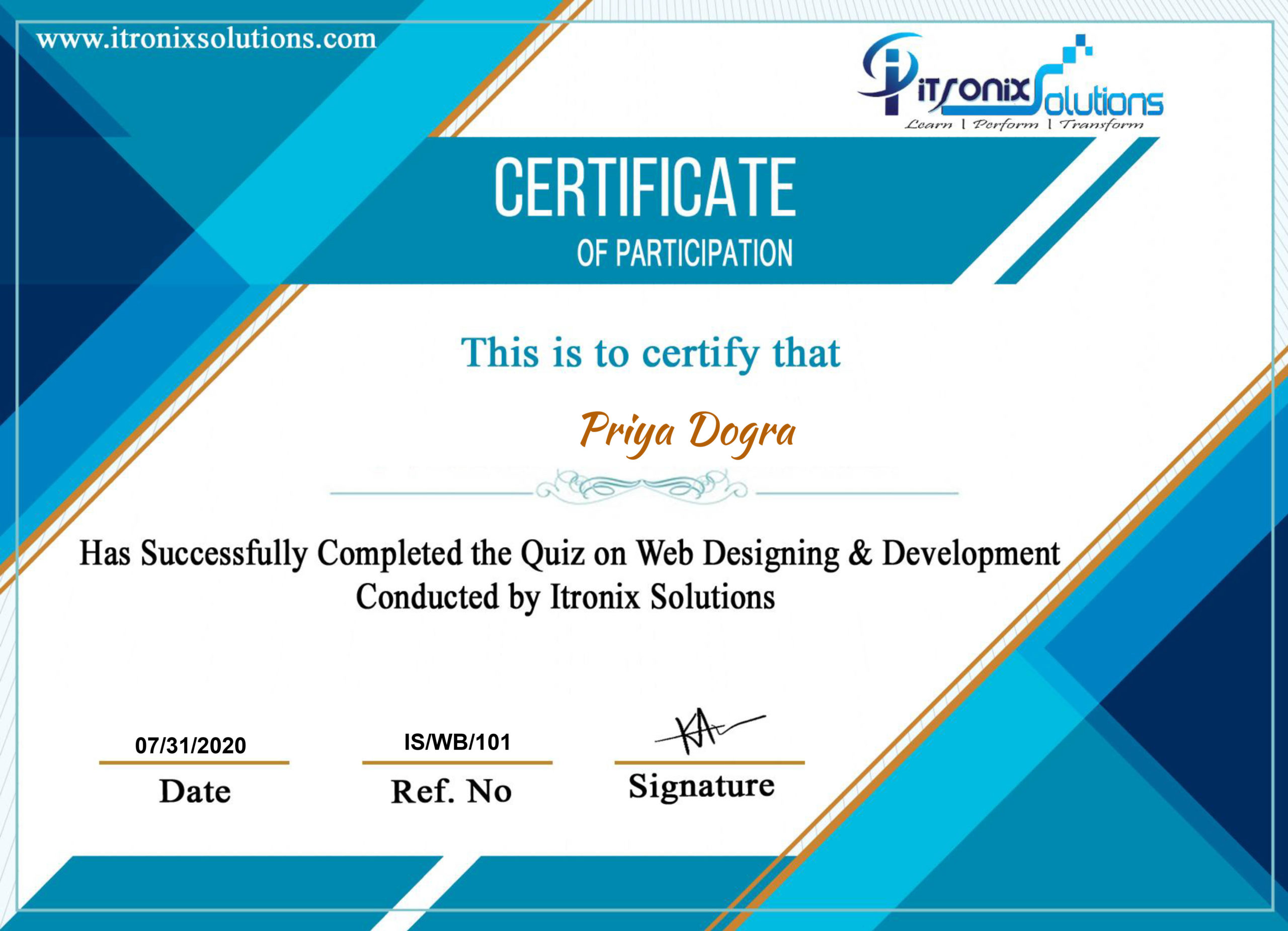 Web Designing & Development Certificate - ITRONIX SOLUTIONS