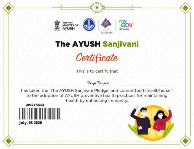 the ayush sanjivani certificate - online goverment certificate ministry of ayush