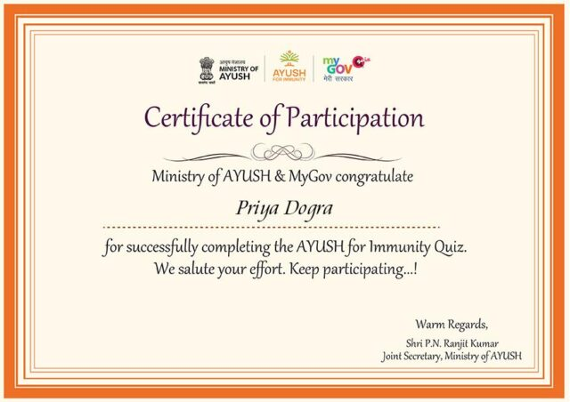 AYUSH For Immunity Quiz Certificate Answers