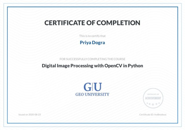 DIGITAL IMAGE PROCESSING WITH OPENCV IN PYTHON FREE CERTIFICATE - GEO UNIVERSITY