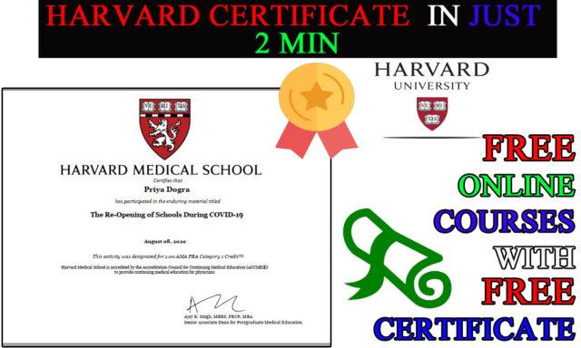 how to get free harvard university certificate