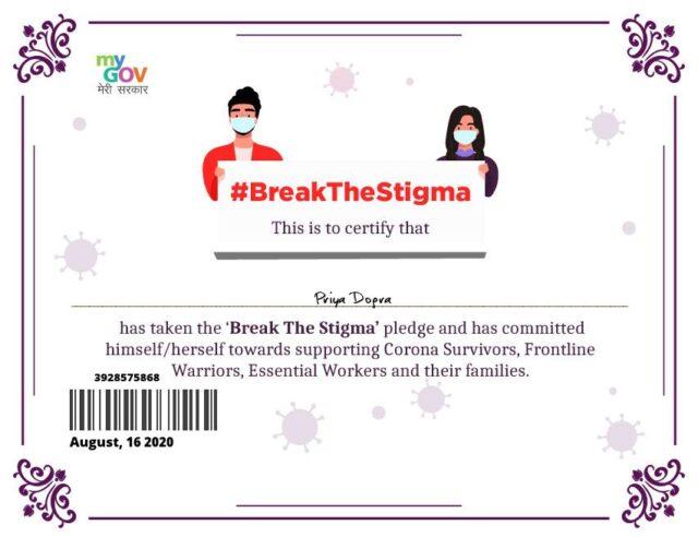 I Pledge to Fight Against The Stigma of Covid-19 Pledge Certificate