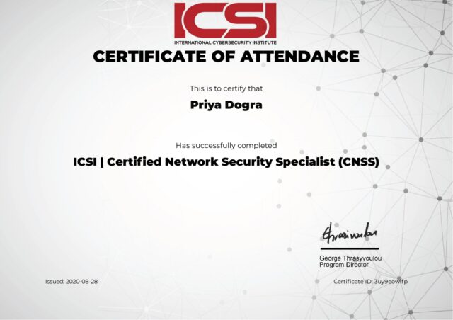 International Cybersecurity Institue ICSI - Certified Network Security Specialist (CNSS) Free Course Certificate