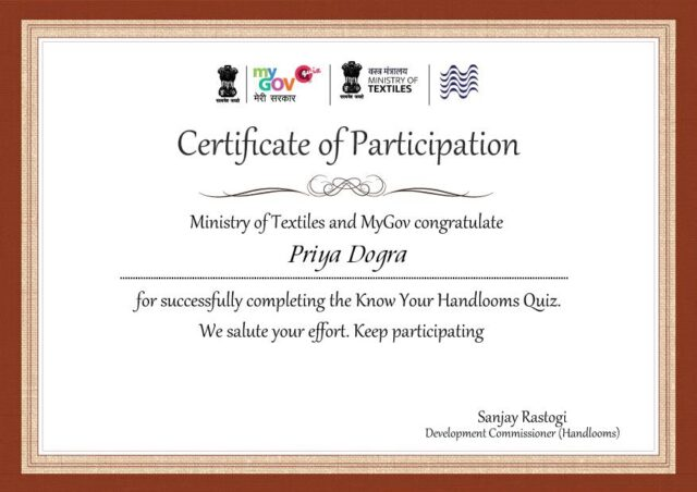 Know Your Handlooms Quiz Certificate - Ministry of Textiles Govt of India Certificate