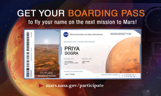 NASA Boarding Pass Mars