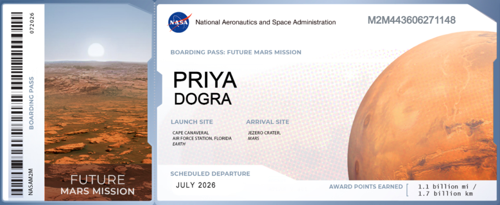 NASA Boarding Pass Mars Boarding Pass My Name On Future Mission