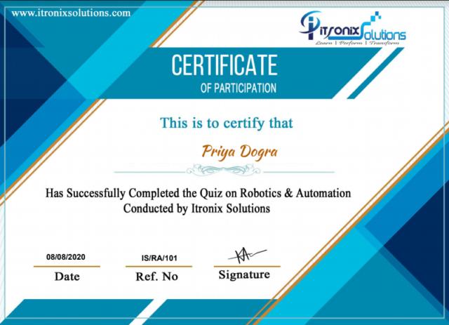 Robotics & Automation Certificate - ITRONIX SOLUTIONS