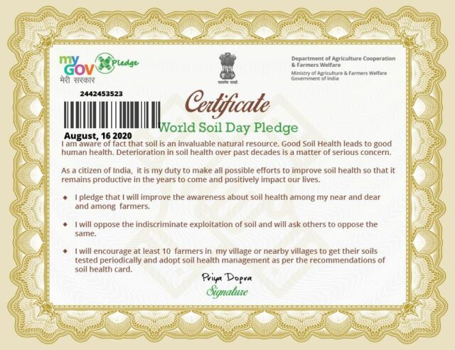 SOIL HEALTH PLEDGE ON WORLD SOIL DAY CERTIFICATE