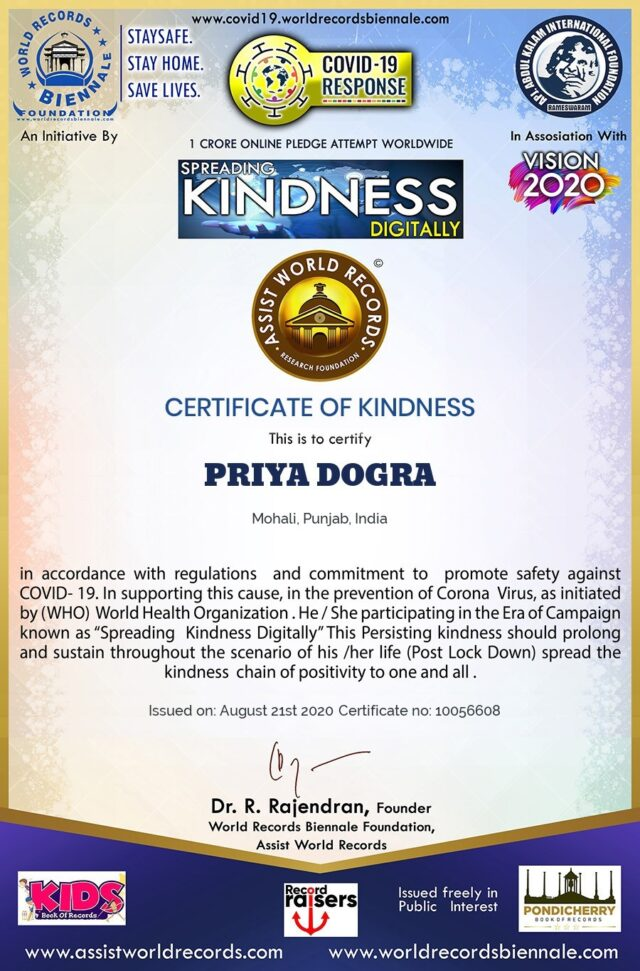 World Records Biennale Free Certificate of Kindness - Assist World Records Research Foundation