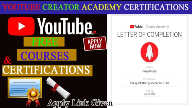 YOUTUBE FREE CERTIFICATIONS