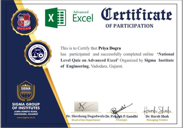 Advance Excel Certification