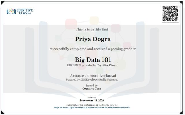 Big Data 101 Cognitive Class Answers