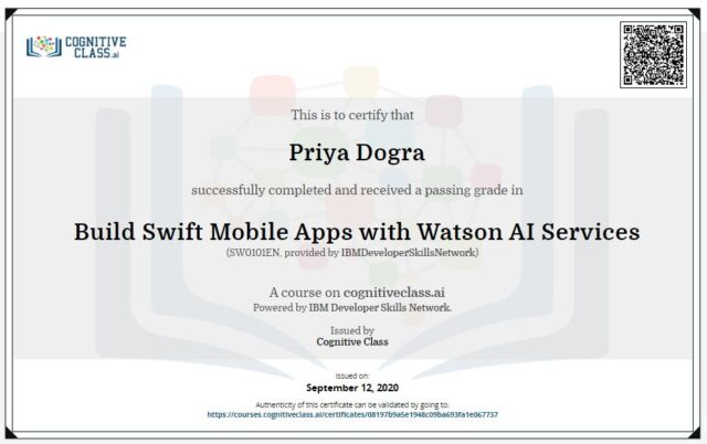 Build Swift Mobile Apps with Watson AI Services Exam Answers Cognitive Class