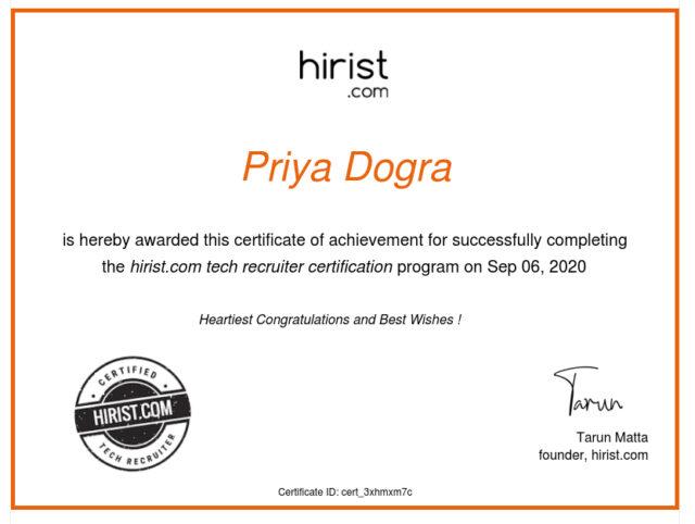 Hirist Tech Recruitment Certification Exam Answers