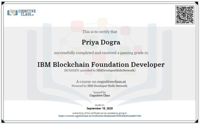IBM Blockchain Foundation Developer Cognitive