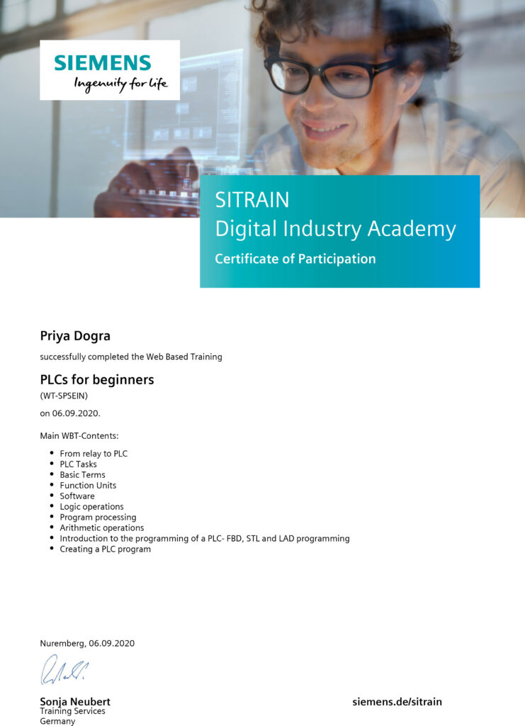 Siemens FREE Online Courses with Certificate - PLC and Automation Course Certification