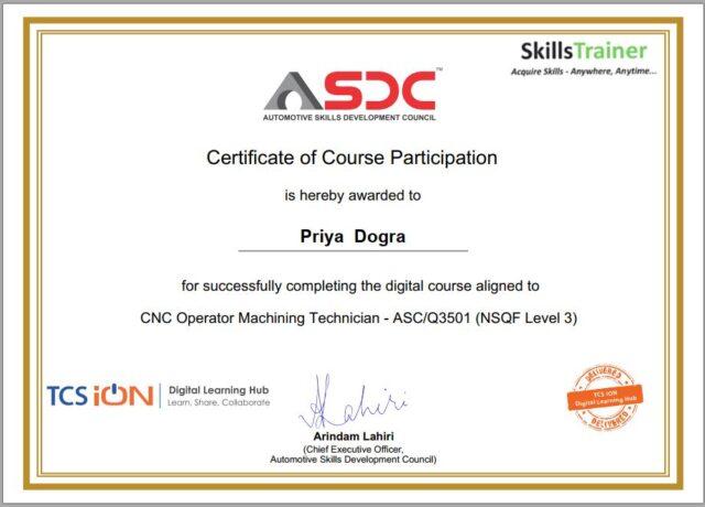 ASDC CNC FREE Certificate
