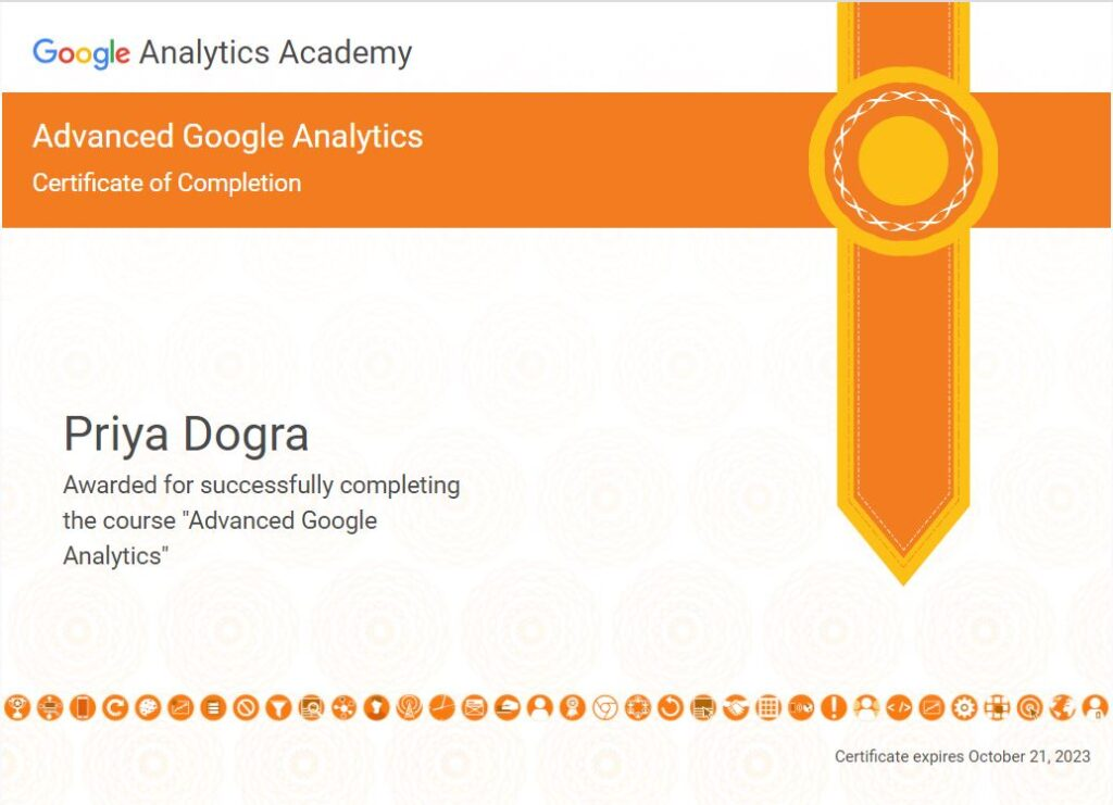 Advance Analytics certificate