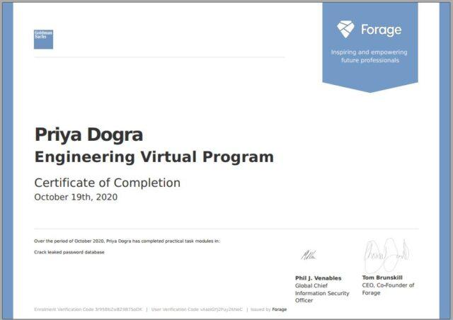 Goldman Sachs Engineering Virtual Program
