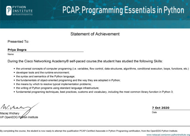 Cisco Netacad PCAP - Programming Essentials in Python Certification