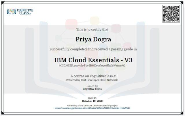 IBM Cloud Essentials - V3 Cognitive Class Answers