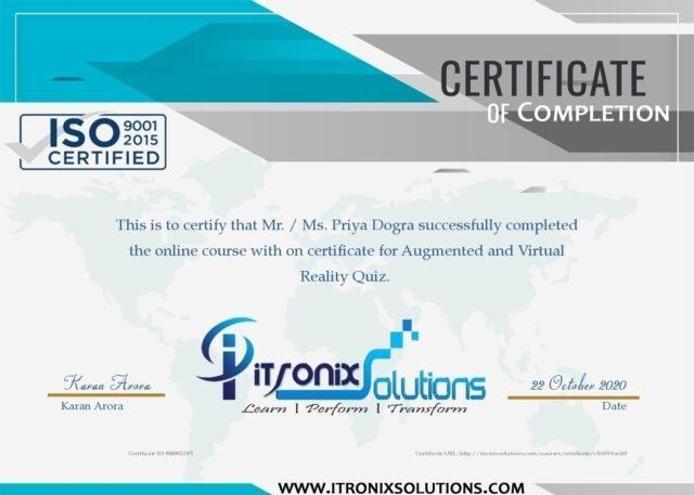 ar & vr quiz certificate
