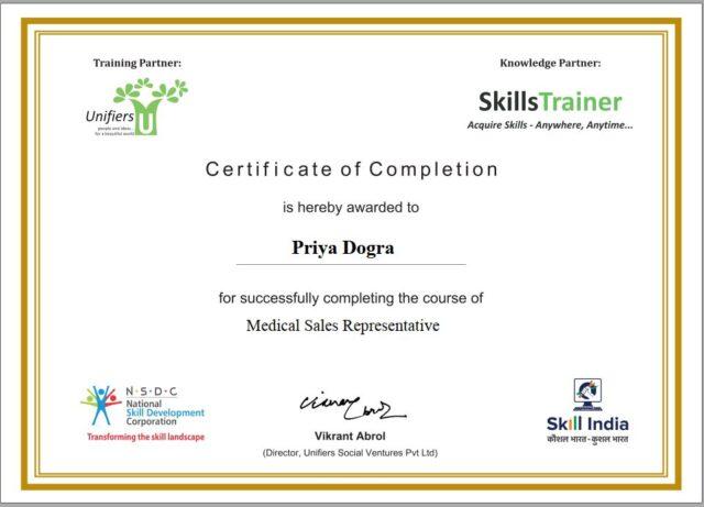 nsdc certificate, free medical certificate