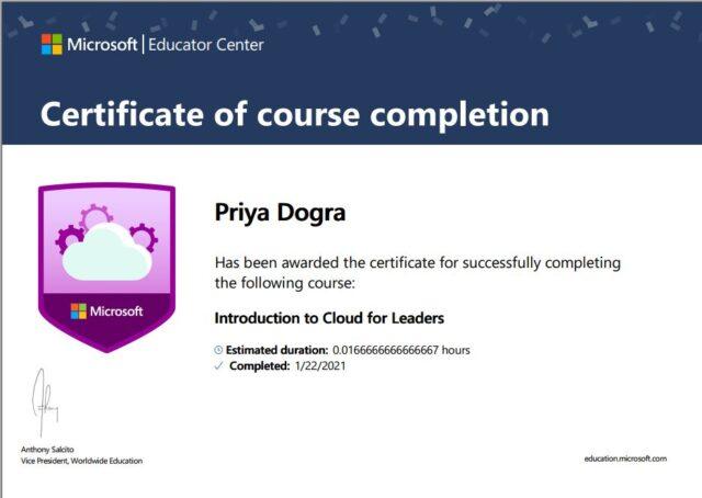 microsoft cloud certificate