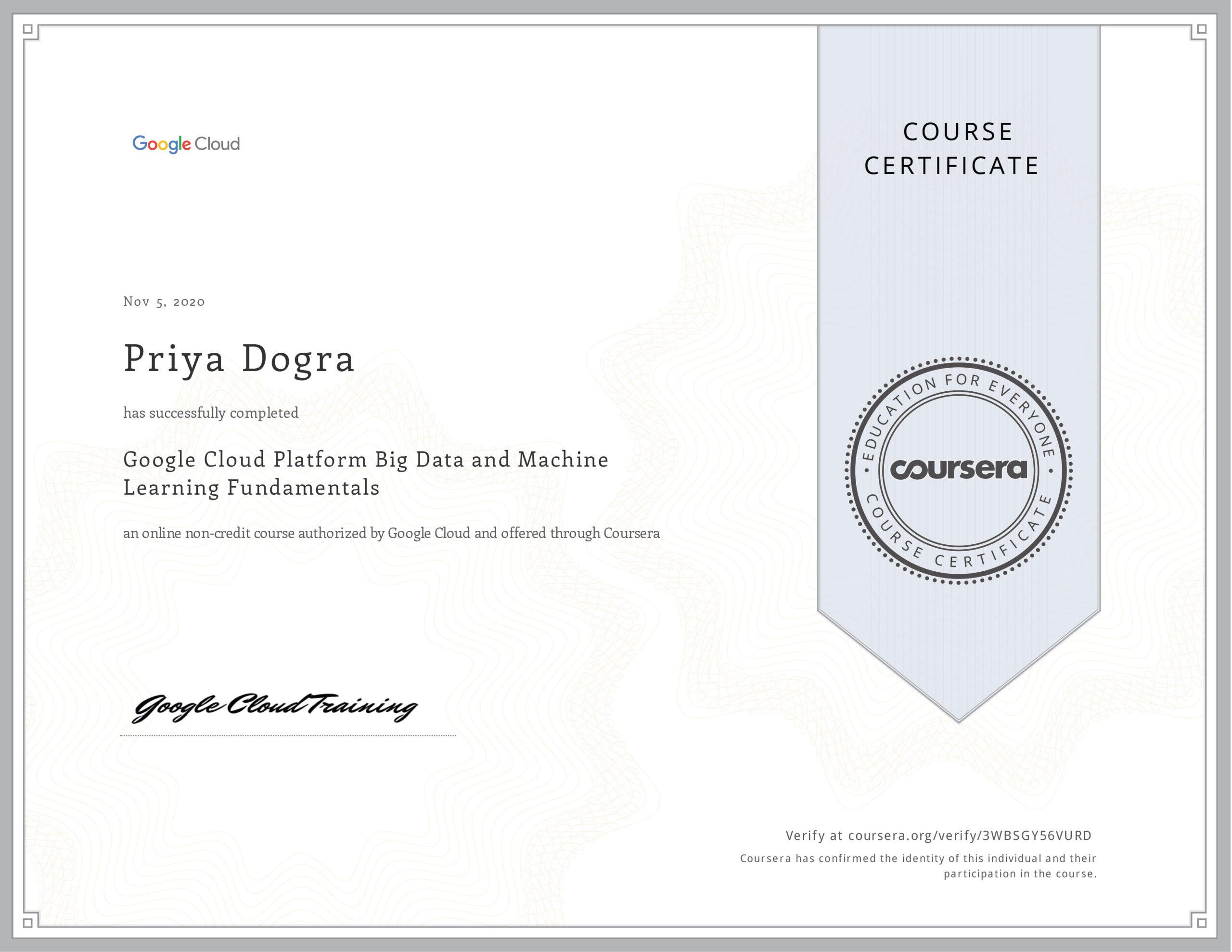 Google Cloud Professional Certificates on Coursera