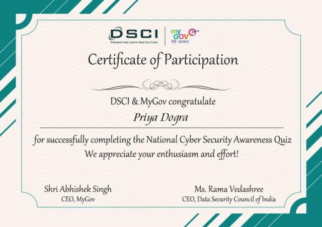 national cyber security awarness quiz certificate
